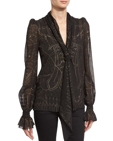 Cage-Print Tie-Neck Silk Blouse, Black/Gold