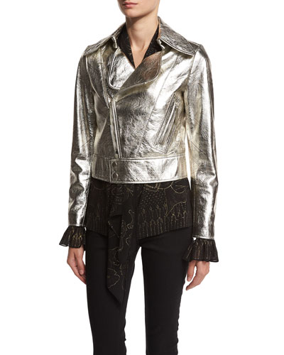 Metallic Leather Biker Jacket, Silver