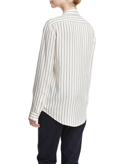 Peter Striped Silk Blouse, White Pattern