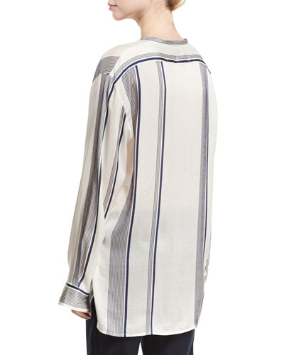 THE ROW Silks STOLA STRIPED BUTTON-FRONT BLOUSE, WHITE PATTERN
