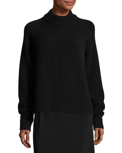 Sephin Mock-Neck Raglan Sweater, Black