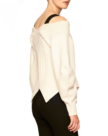 Off-the-Shoulder Corset Sweater, Natural White