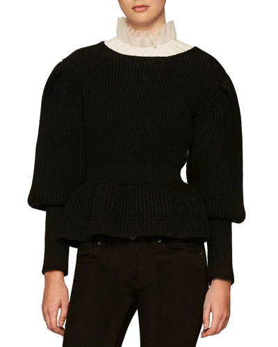 Ribbed Knit Balloon-Sleeve Sweater, Black