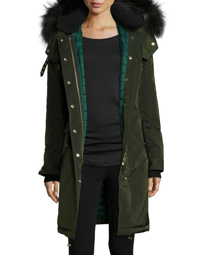 Hunnbridge Fur-Trim Puffer Parka Coat, Dark Cedar Green