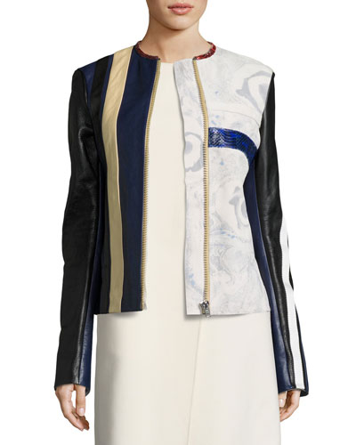 Patchwork Leather Moto Jacket, Blue Pattern