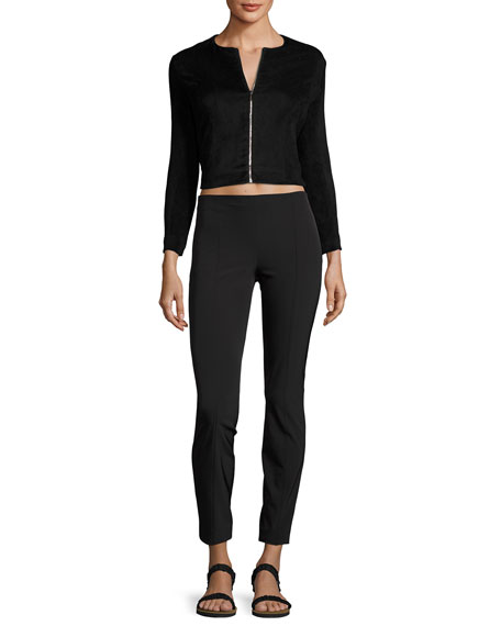 Stanna Cropped Zip-Front Jacket, Black