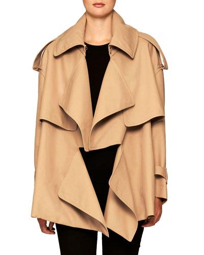 Gabardine Short Trench Coat