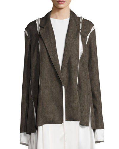 Menswear-Inspired Satin-Inset Jacket, Brown Onsale
