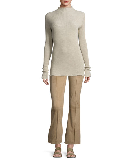 Beca Lambskin Suede Flare-Leg Pants, Sand