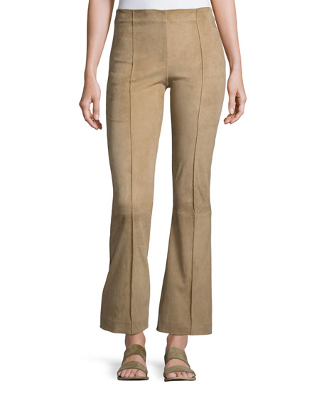 THE ROW Beca Lambskin Suede Flare-Leg Pants, Sand