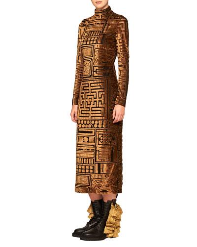 Velvet Bodycon Long-Sleeve Dress