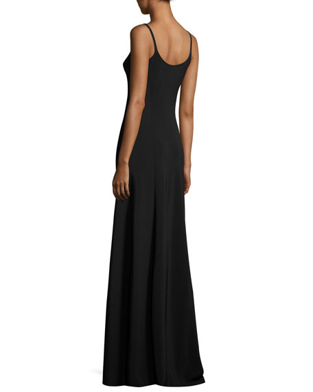 Tammi Sleeveless Scoop-Neck Gown, Black