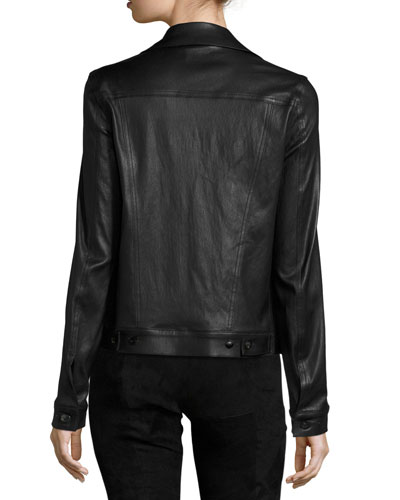 THE ROW Leathers COLTRA LAMBSKIN LEATHER JACKET, BLACK