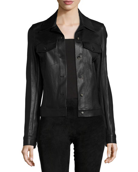 THE ROW Coltra Lambskin Leather Jacket, Black and