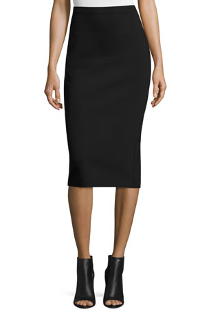 THE ROW Rabina Scuba Pencil Midi Skirt, Black