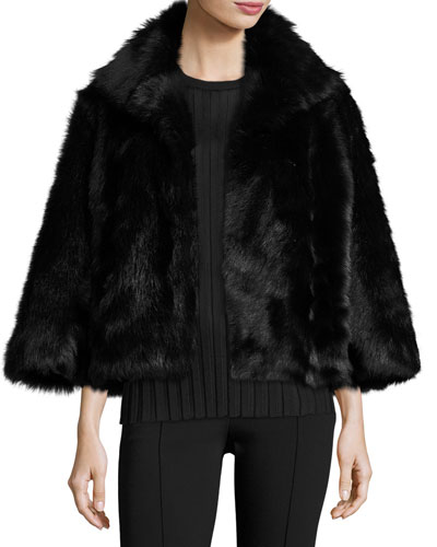 Warner Shearling Bracelet-Sleeve Jacket, Black