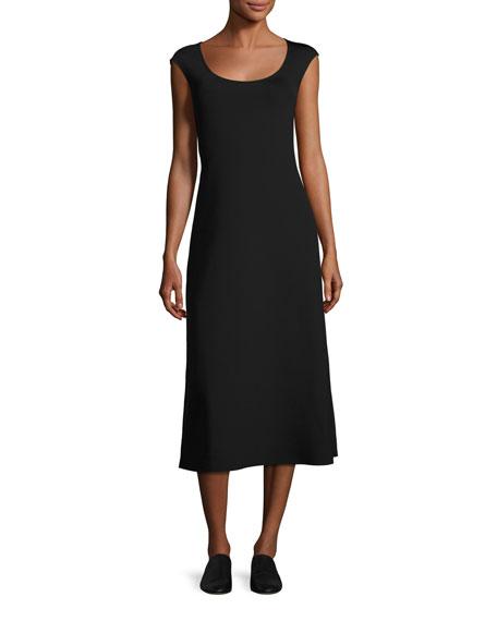 THE ROW Rhode Cap-Sleeve Midi Dress, Black
