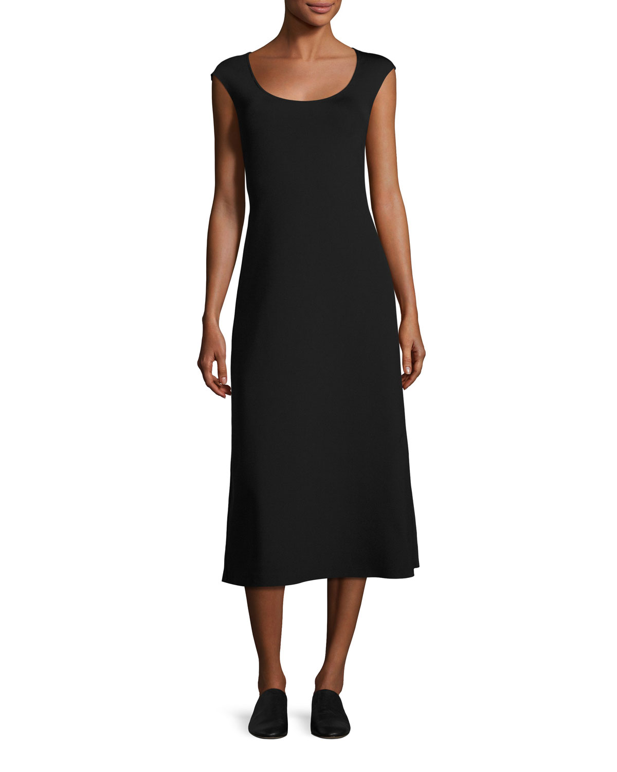 The Row Rhode Cap Sleeve Midi Dress Black Neiman Marcus