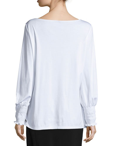 THE ROW Cottons KENU SMOCKED-CUFF TOP, WHITE