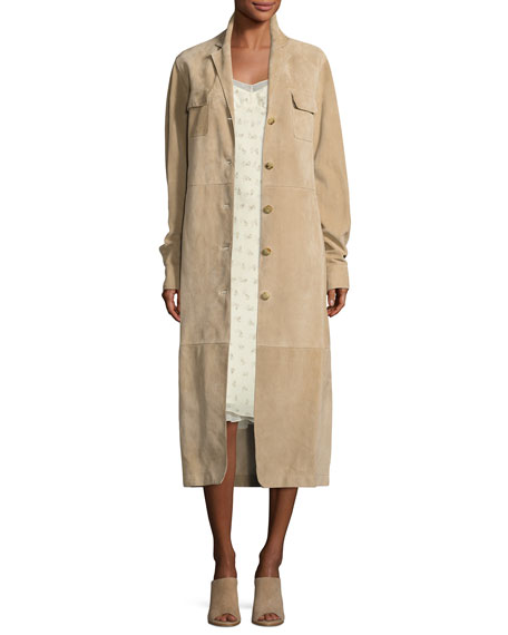 Zoe Perforated Suede Trenchcoat