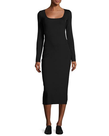 THE ROW Xenia Square-Neck Midi Dress, Black