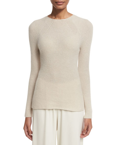 THE ROW Blanca Ribbed Cashmere Sweater, Light Beige