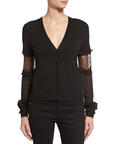 Lace-Inset V-Neck Cardigan, Black