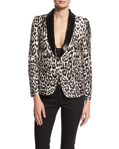 Sequined-Lapel Leopard-Print Jacket, Leopard