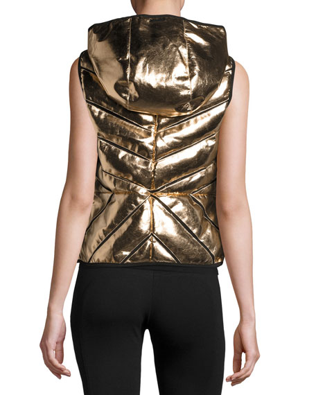 Metallic Mesh-Inset Puffer Vest, Rose Gold
