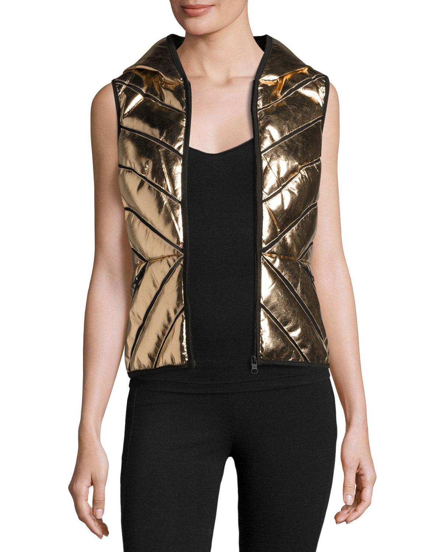 54e41521c Blanc Noir Metallic Mesh-Inset Puffer Vest, Rose Gold | Neiman Marcus