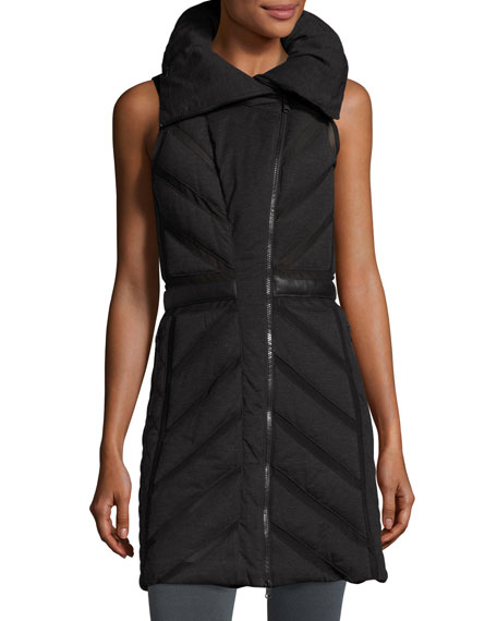 Mesh-Inset Puffer Tunic Vest, Charcoal