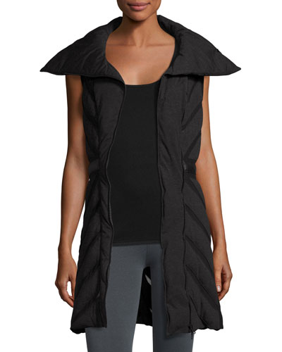 Mesh-Inset Puffer Tunic Vest, Charcoal