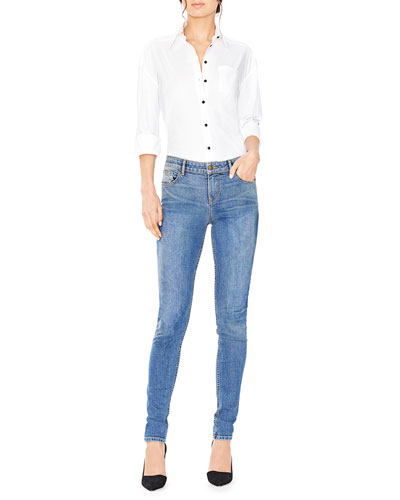 Jane Embroidered Skinny Jeans, Blue