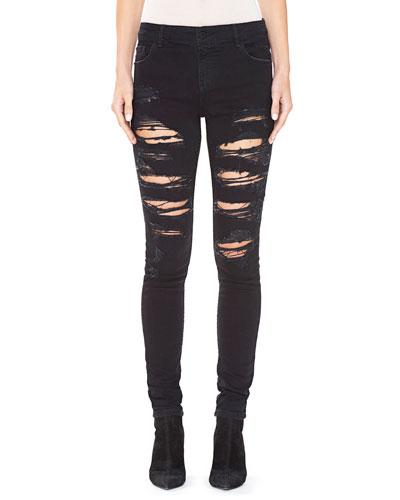 Jane Embellished & Distressed Skinny Jeans, Black