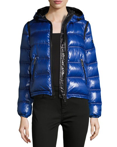 Mapleford 2-in-1 Glossy Puffer Jacket w/ Zip-Off Sleeves, Blue