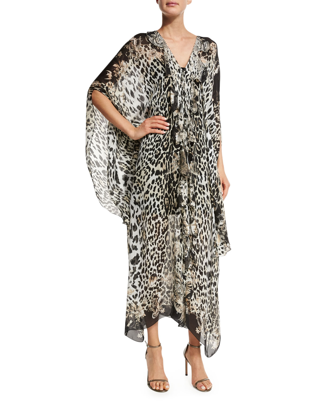b3bd8aa73 Roberto Cavalli Leopard-Print Silk Caftan, Leopard | Neiman Marcus