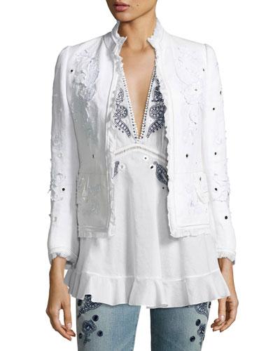 Floral Frayed Linen Jacket, White Buy