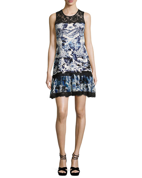 Phoenix-Print Sleeveless Dress, Blue