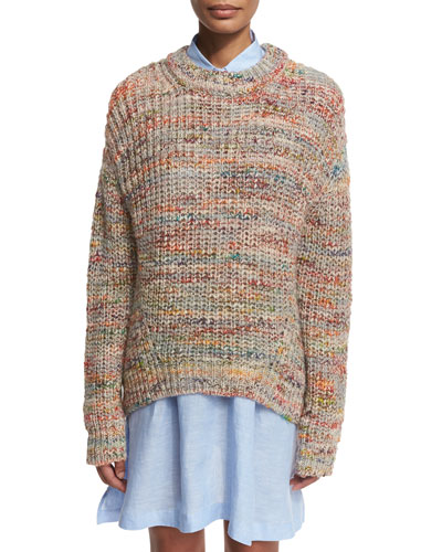 Marled Chunky Pullover Sweater, White/Multi
