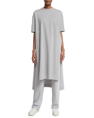 Short-Sleeve Side-Slit Long Tunic, Gray