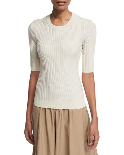 Ribbed Half-Sleeve Sweater, Cream