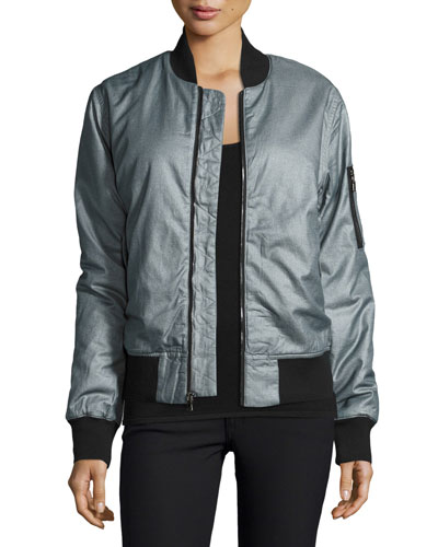 Gene Puffy Bomber Jacket, Dusty Silver