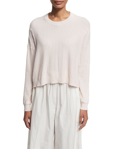 Ribbed High-Low Crewneck Sweater, Light Pink