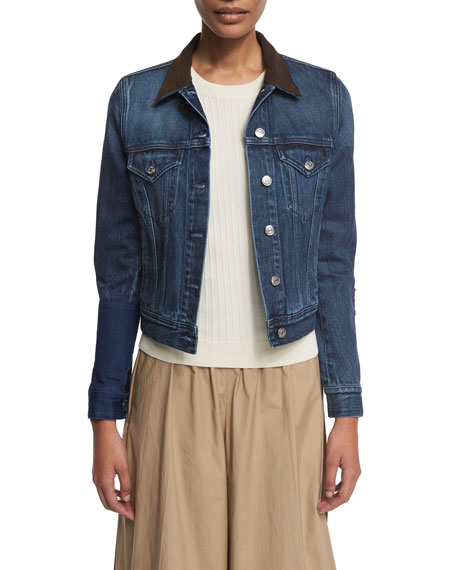Suede-Trim Denim Jacket, Blue Onsale