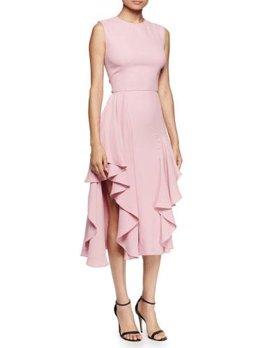 Sleeveless Flounce-Hem Dress, Fox Glove