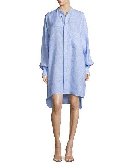 Oversized Linen Shirtdress, Light Blue