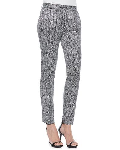 Skinny Herringbone-Print Pants
