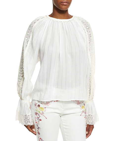 Etro Lace-Trim Voile Peasant Blouse, White
