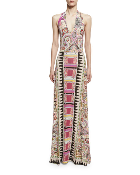 Etro Ikat & Paisley-Print Halter Gown, Fuchsia/Multi