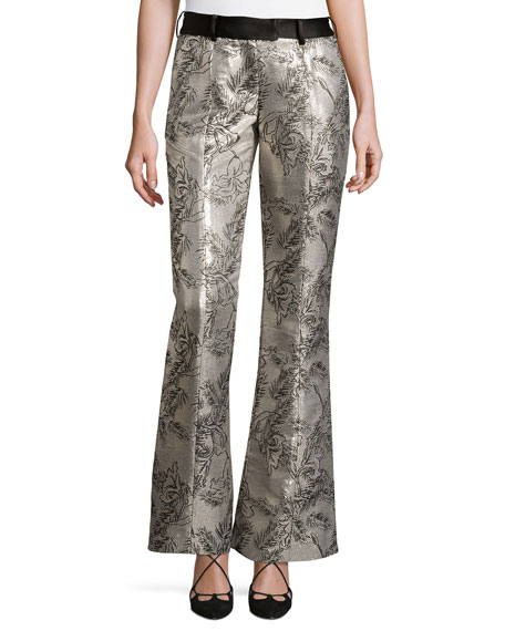 Prabal Gurung Metallic Jacquard Flared Pants, Silver